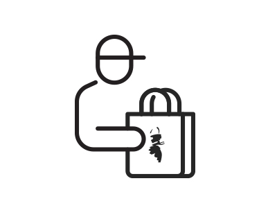 delivery of red apron bag icon